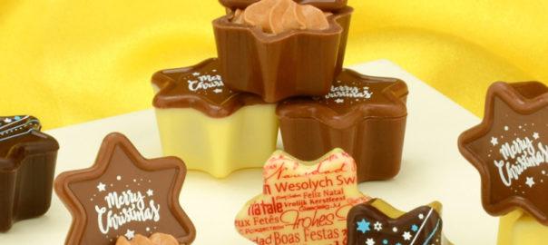 Schokoladen-Aufleger in Weiß, Vollmilch und Zartbitter